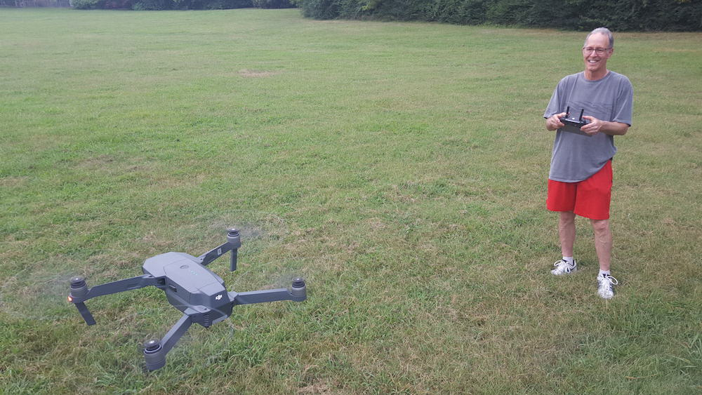 dad learning to fly dji mavic pro drone