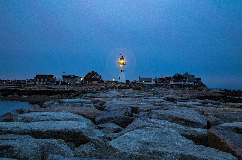 fly drone Scituate lighthouse