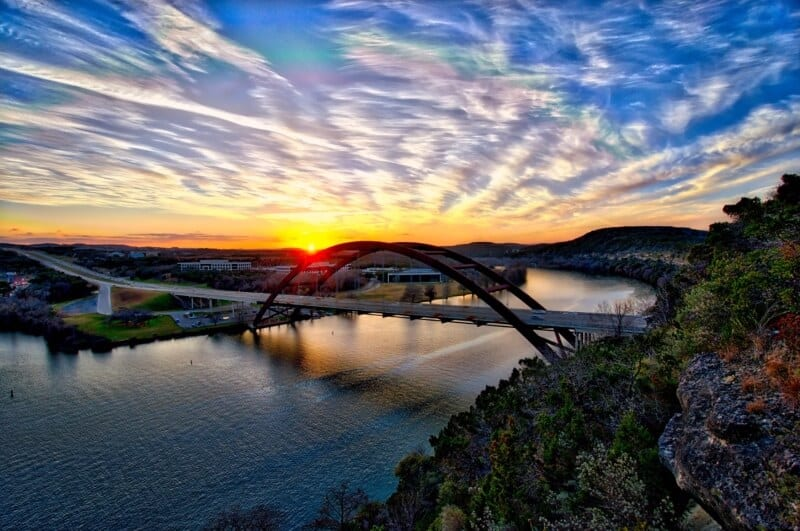 fly drone Pennybacker Bridge