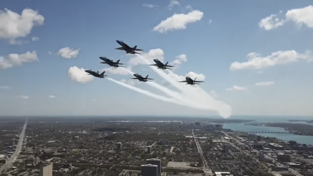 Silly dude almost crashes his drone into the Blue Angels