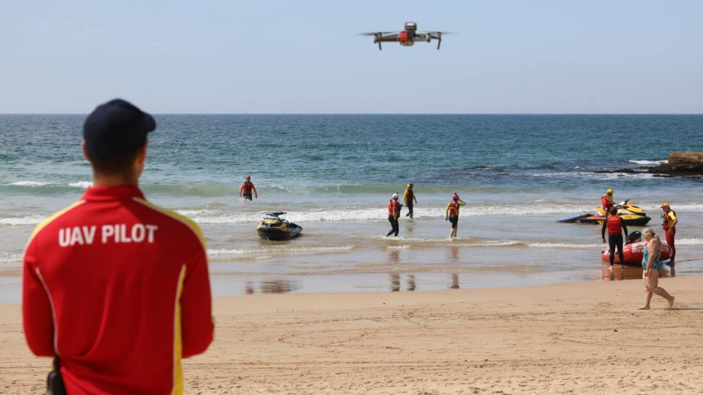 UAV pilot looking for sharks in Australia
