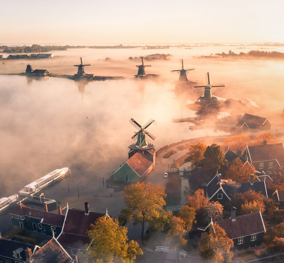 Drone photography netherlands wispy morning